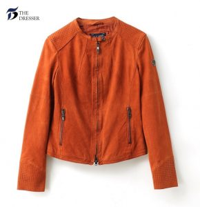primavara - Geaca portocalie din piele intoarsa - The Dresser