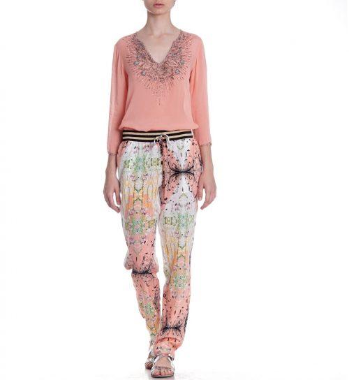 Pantaloni Roberto Cavalli din matase cu imprimeu floral