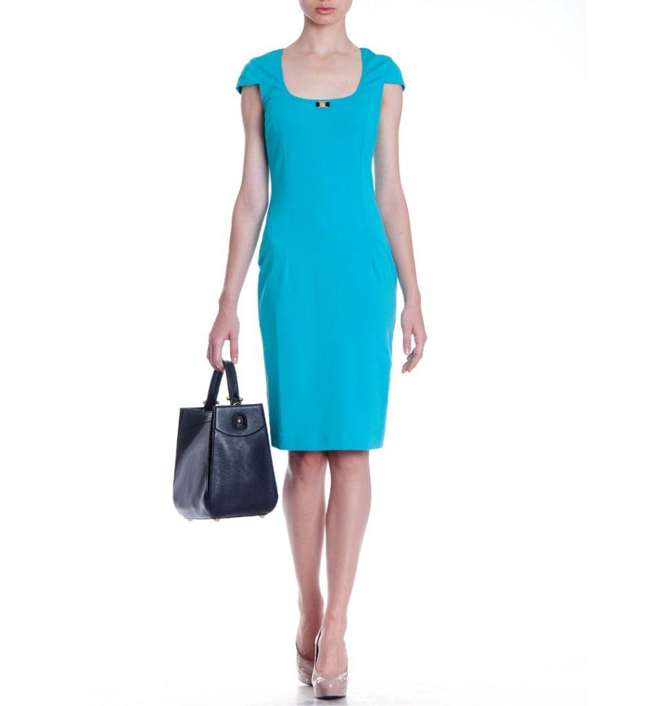 Rochie din vascoza, culoare turquoise uni, Roberto Cavalli.