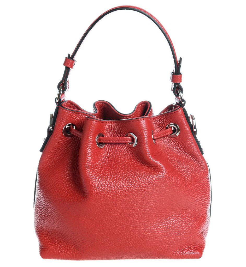 Geanta bucket mini piele de culoare rosie Coccinelle