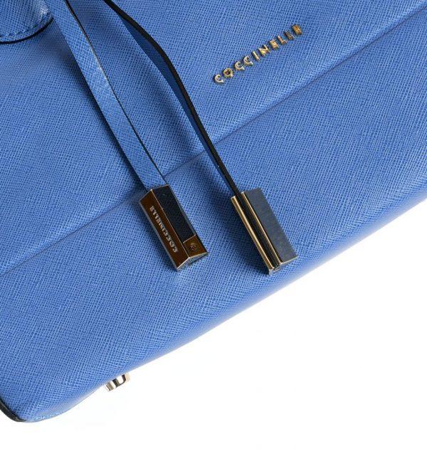 Geanta tote piele saffiano culoare albastra Coccinelle