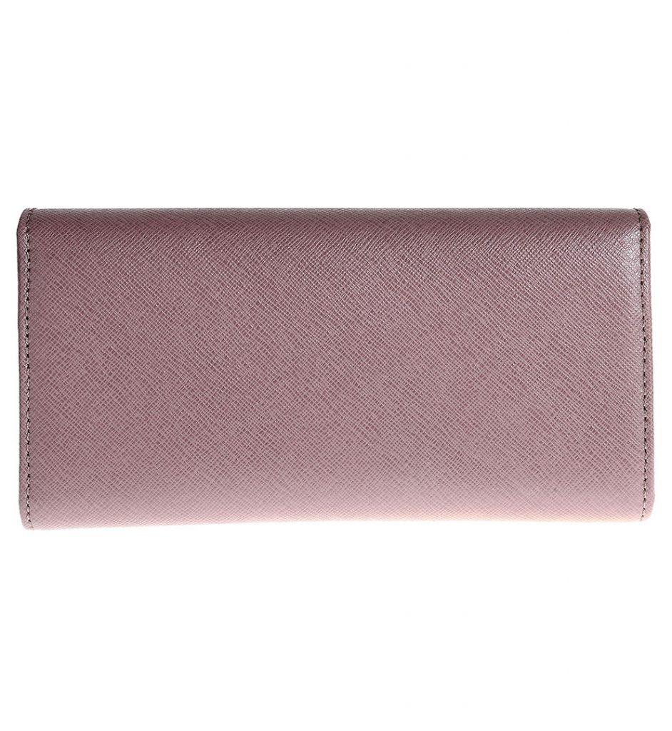 Portofel piele saffiano roz-nude si nume brand aplicat
