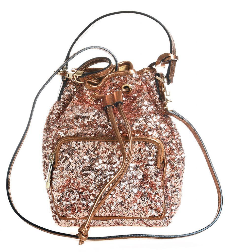 Rucsac mini cu paiete roz-auriu aplicate Coccinelle