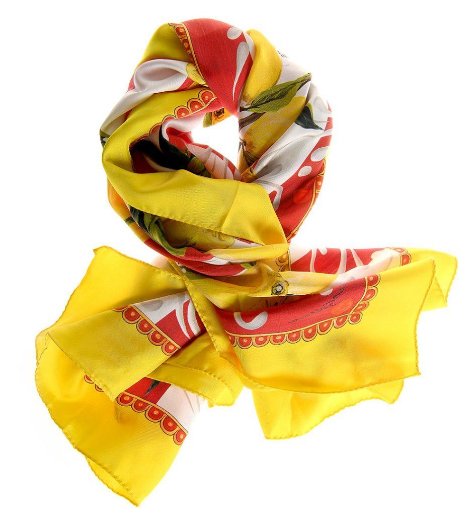 Esarfa din matase galben lemon imprimeu cu fructe