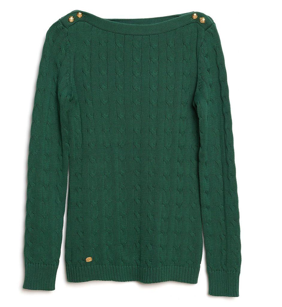 Pulover verde din bumbac
