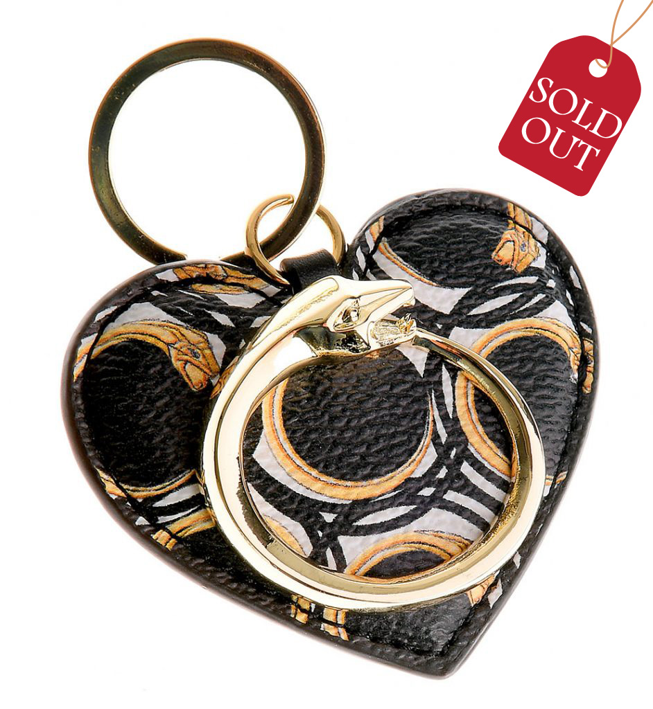 sale retailer b5fdf b3912 Heart-shaped Saffiano leather keychain, with golden metallic ...