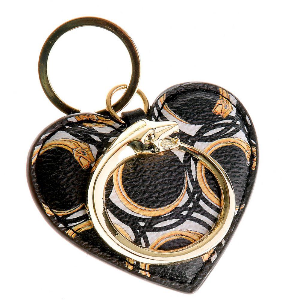 Breloc din piele saffiano in forma de inimioara cu detalii metalice aurii