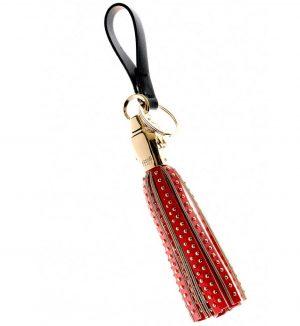 Breloc din metal auriu cu detalii din piele rosie