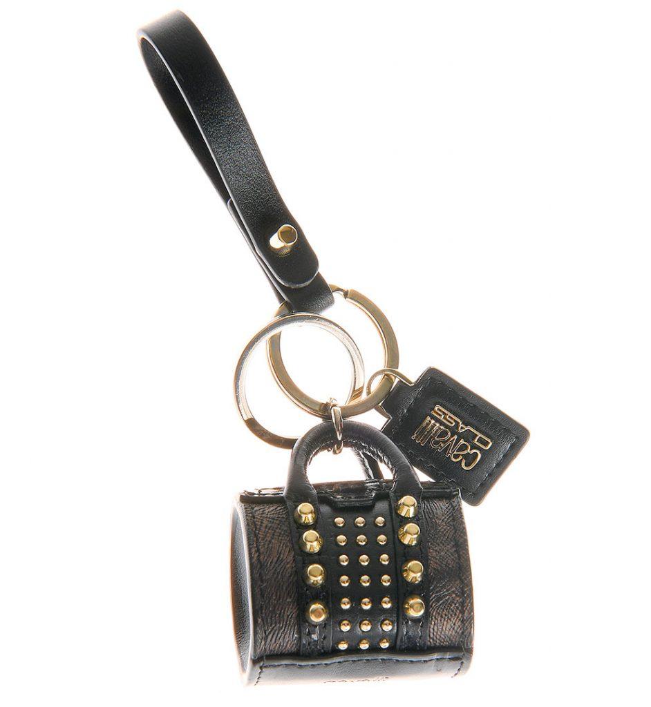 Breloc din piele cu forma de mini geanta culoare neagra