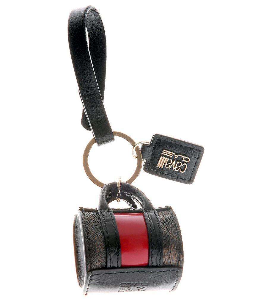 Breloc din piele cu forma de mini geanta rosu si negru