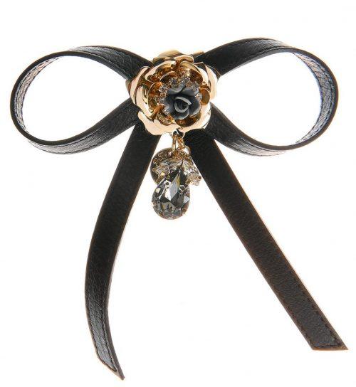 Brosa metalica forma de floare cu pietre din sticla