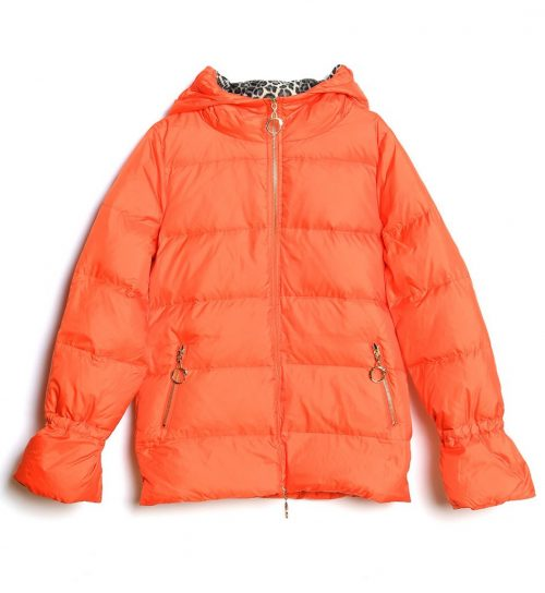 Jacheta de culoare portocalie cu gluga