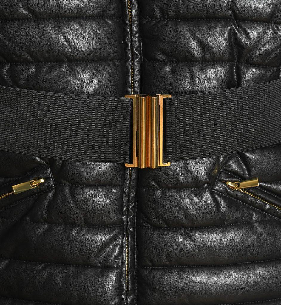 Jacheta neagra cu curea elastica in talie