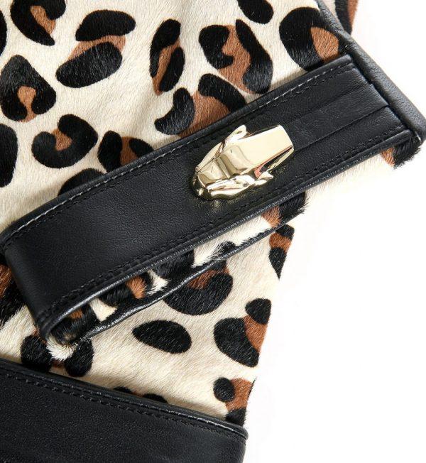 Manusi din piele neagra cu imprimeu leopard