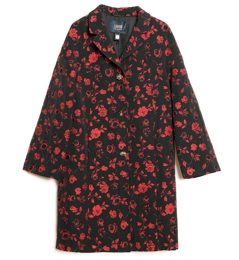 Palton negru cu broderie florala