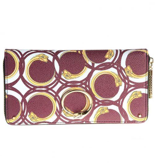 Portofel piele saffiano culoare burgundy cu imprimeu snake