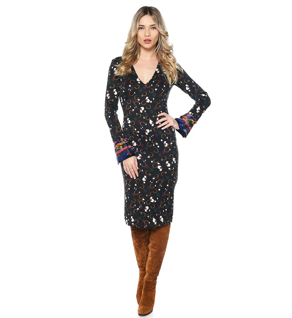 buy popular 014ad 95fdb Black dress with multicoloured floral print Class Roberto Cavalli