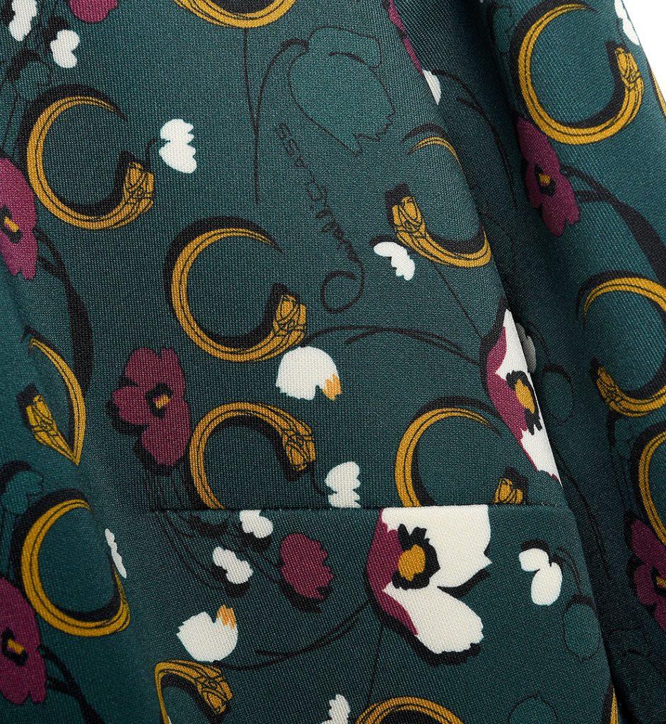 Rochie verde cu imprimeu floral multicolor