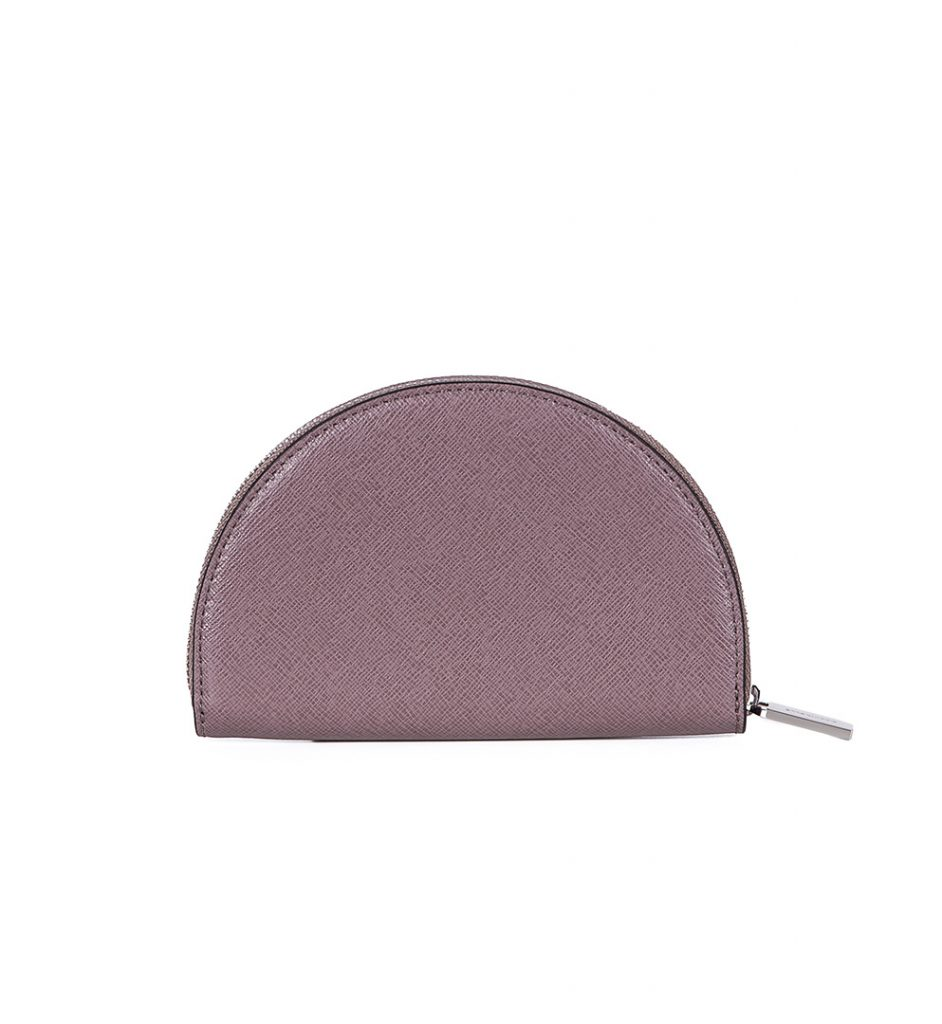 Portofel din piele roz nude inchis saffiano