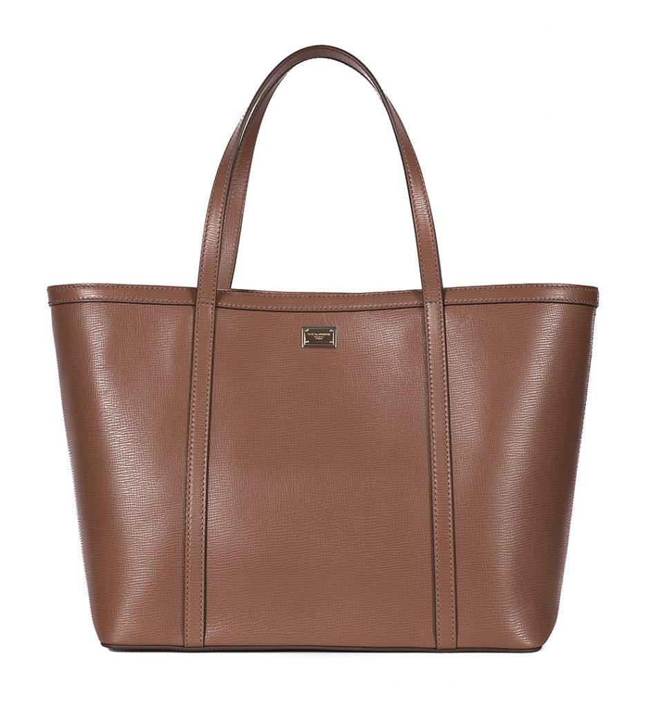 Shopper bag din piele saffiano nuanta cappuccino