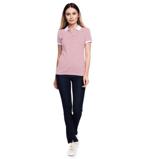 Tricou din bumbac alb cu dungi rosii