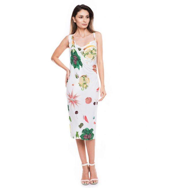 Rochie alba din vascoza croiala dreapta si imprimeu multicolor