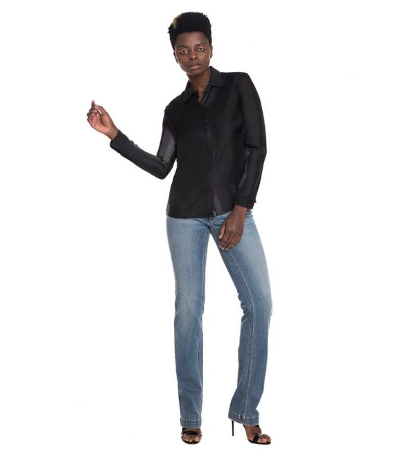 Camasa Prada camasa neagra matase vara neagra camasi elegant camasa neagra