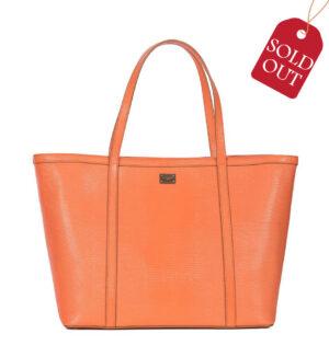 Shopper bag din piele saffiano portocalie
