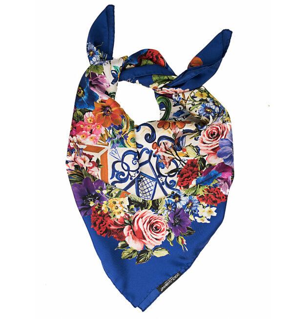Esarfa matase albastra cu flori colorate