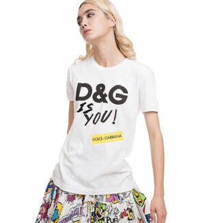 "Tricou din bumbac alb ""D&G is you"""