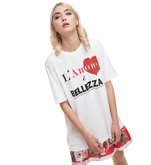 """Tricou din bumbac alb """"L'amore e' Bellezza"""""""
