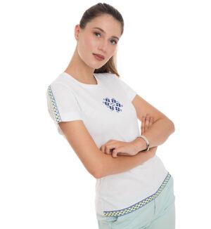 Tricou alb din bumbac broderie galben neon si albastru electric