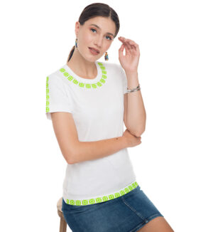 Tricou alb din bumbac broderie frontala verde neon